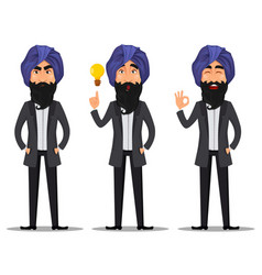 indian business man cartoon set vector image vector image