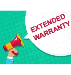 Megaphone with extended warranty announcement vector