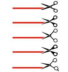 scissors cutting red tape vector image vector image