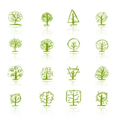 Set of sketch trees for your design vector image vector image