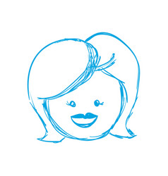Silhouette happy woman face with haistyle vector