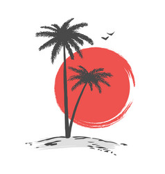 silhouette of palms in sunset vector image