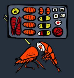 Sushi restaurant icons set vector