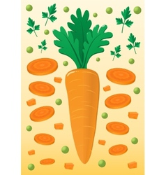 Vegetable mix with carrot and peas vector image vector image