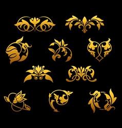 vintage golden florals set vector image vector image