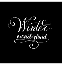 winter wonderlend black and white handwritten vector image vector image