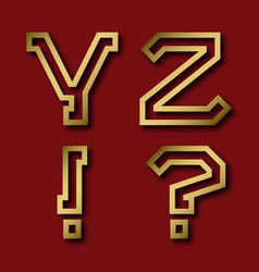y z gold angular letters exclamation and vector image