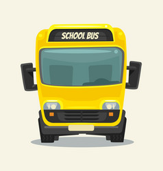 Yellow school bus back school front view vector