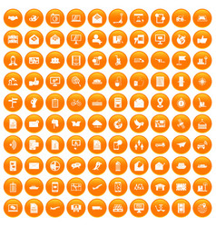 100 post and mail icons set orange vector