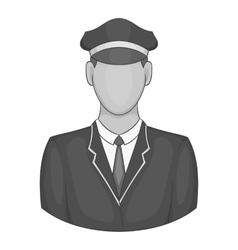 Driver of train icon black monochrome style vector