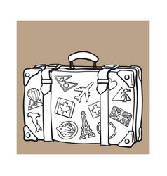 hand drawn retro style travel suitcase with labels vector image