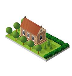 Retro isometric country house vector