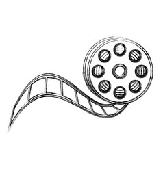 monochrome sketch with video reel tape vector image