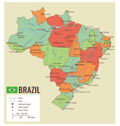 brazil political map with selectable territories vector image