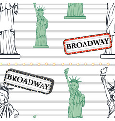 Seamless background with statue of liberty and vector