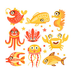 Cute cartoon sea creatures marine life vector