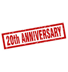 Square grunge red 20th anniversary stamp vector