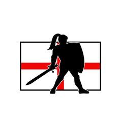 English Knight Shield Sword England Flag Retro vector image
