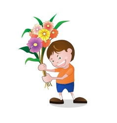 Boy holding flowers vector