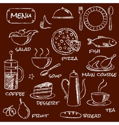 Hand drawn menu elements set vector