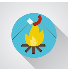 Bonfire with marshmallow and sausage- icon vector