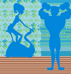 Couple exercising in the gym vector
