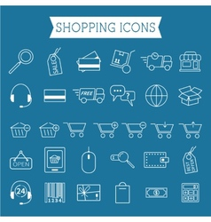 Set of on-line shopping icons outline can be use vector