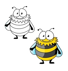 Black and yellow striped furry cartoon bumblebee vector