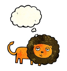 Cartoon lion with thought bubble vector
