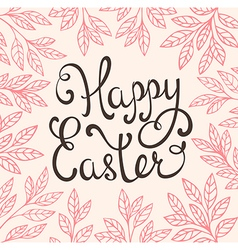 Easter background with pink leaves vector