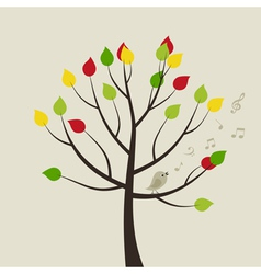 Singing bird on tree vector
