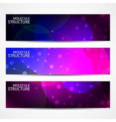 Abstract geometric banners molecule and vector