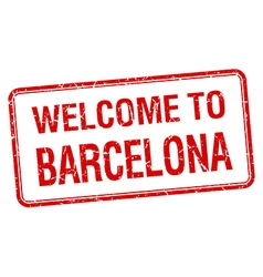 Welcome to barcelona red grunge square stamp vector