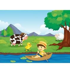 Farm scene vector