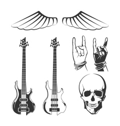 Elements for rock music recording studios vector