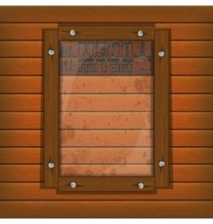 Restaurant menu wooden frame and glass vertically vector