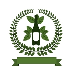 Arch of green leaves with bottle wine and cutlery vector