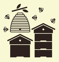 Beehives and bees vector