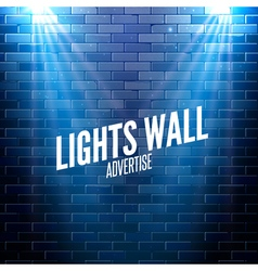 Brick wall with lights colorful light shining on a vector