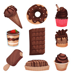 chocolate sweets collection different delicious vector image