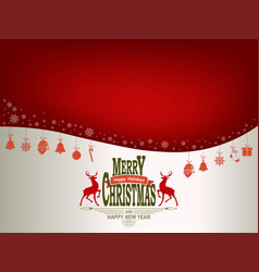 christmas red white background with symbols of vector image vector image