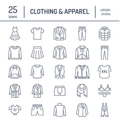 clothing fasion flat line icons mens womens vector image
