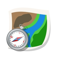 Compass and map vector image vector image