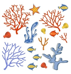 Cute collection of sea weeds corals and fishes vector