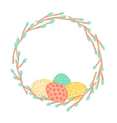 Easter wreath made of willow branches and painted vector