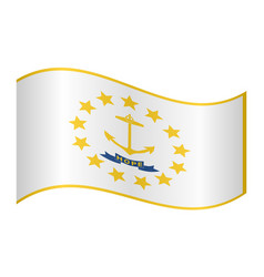 flag of rhode island waving on white background vector image