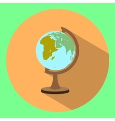 Flat icon of globe with long shadow vector