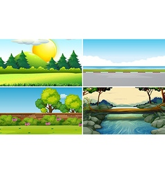 Four different scenes at daytime vector image vector image
