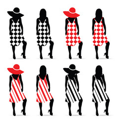 girl silhouette set in red and black dress vector image vector image
