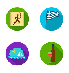 greece running wine flag greece set collection vector image